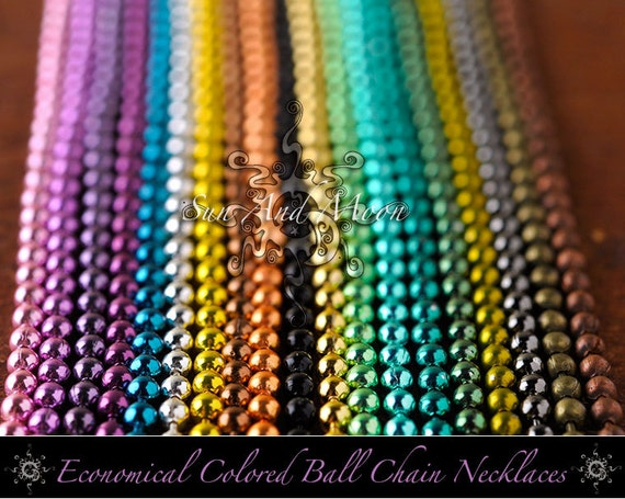 100 Colored Ball Chain Necklaces - 2.4mm - 24 Inch