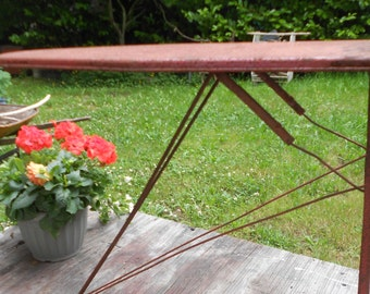 Rusty Crusty CHILD IRONING BOARD, Vintage Red, folding, shabby display, garden decor