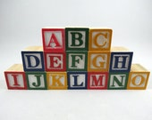 15 Alphabet Blocks, Square - 1 1/8 inch - Baby Shower - Painted Wooden Alphabet Letter Blocks for DIY