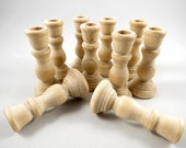 15 Wood Candle Holders - Candlesticks - Wedding Supplies, 3 inch Unfinished Wooden Candle Holders for DIY