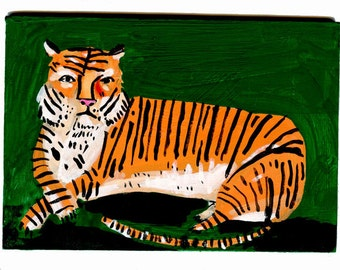 Tiger, painting on board