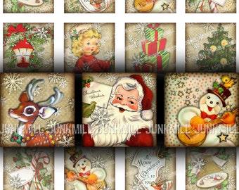 "RETRO HOLIDAY - Digital Printable Collage Sheet - Vintage Christmas Santa, Rudolph, Snowmen & Angels, 1"" Squares 25 mm, Digital Download"