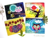 Postcard Set of 8 - Whimsical Fauna Set 1 - Owls, Cats, Lovebirds