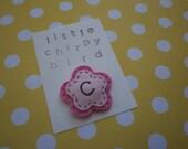 RESERVED LISTING monogrammed wool felt and fabric hair clip- Custom Letter Flower