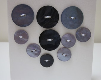 10 Mixed Lilac and Blue Shell Buttons