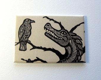 Wyrm dragon raven art magnet 2 x 3 inches