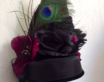 Vintage Look Mini Pillbox Kentucky Derby Hat with Feathers and Flowers