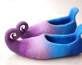 CUSTOM MADE Fairy shoes/ felted home slippers felted from wool in purple and blue or any other color