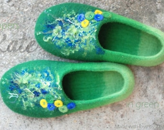 Felted slippers Wool shoes model KATE in green blue and yellow Handmade to order Custom colors any sizes