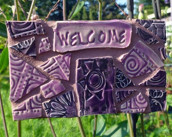 Sunshine Mosaic Welcome Sign Pink and Purple