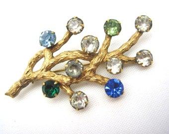 Rhinestone Branch Brooch - Van Dell Jewelry - 12kt GF Rhinestone Branch