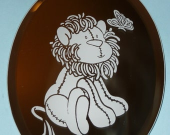Etched Mirror with Lion and Butterfly