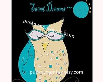 Owl print 8x10 Dream Owlie children's wall decor