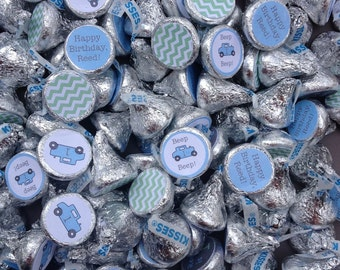 88 Hershey Kiss Labels  - Stickers for Candy Kisses - Vintage Car Birthday Party or Boy Car Shower