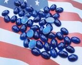 Vintage 14x10mm Blue LapisLazuli with Bronze Specks Flat Back Un-Foiled Oval Glass Cabs (8 pieces)