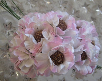 Paper Flowers 12 Millinery Poppy Flowers Pink Mix