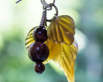 Genuine Red Tiger's Eye and Amber Glass Leaf Chandelier Earrings on Hypo Alergenic Wires
