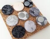 Shades of Grey Silvery Mirrow Ball Dots - Fabric Covered Push Pin Set of 9