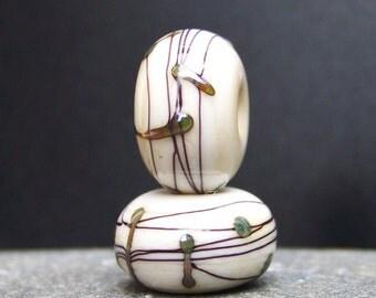 MruMru Handmade Lampwork Glass Bead Earring Pair.  Sra.
