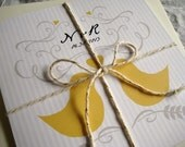 Romantic Love Birds Wedding Invitation (Oriole Yellow, Sepia with Ivory Envelopes, Gold/Silver Baker's Twine) -  Heath Collection Sample