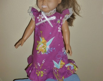 Tinkerbell doll nightgown for American Girl and other 18 inch dolls
