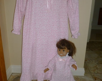 Matching  flannel nightgown set for child and American Girl doll