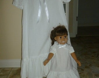 100 percent  cotton muslin nightgown set for child and American Girl Doll