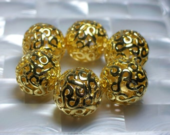 5pcs Bead Round Simple Swirl Gold color Lead free Zinc Alloy 18mm Jewelry Beads Jewellery Supplies Necklace Bracelet