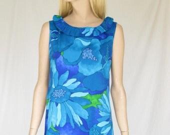 Vintage 60s Mod Hawaiian Maxi Dress
