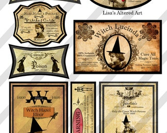 Digital Collage Sheet Vintage Halloween Potion  Labels (Sheet no. H29) PNG file available-Instant Download