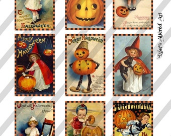 Digital Collage Sheet  Halloween Postcard Images (Sheet no. O87) Instant Download