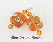Honey Amber Glass Dangle Earrings Lampwork Glass Earrings Hawaii Handmade Jewelry  Handmade Glass Nugget Beads BOHO Jewelry