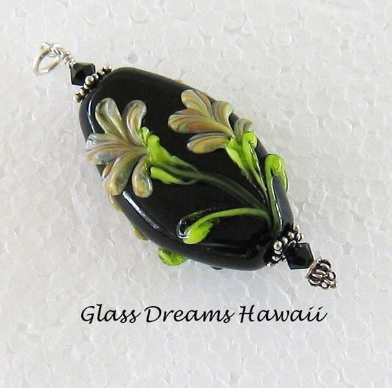 Lovely Lampwork Glass Pendant  - Artisan Jewelry - Black with Ivory - Glass Bead Necklace