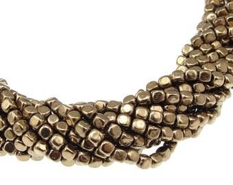 100 4mm Cube Beads Metallic Bronze Beads Czech Glass Beads - Czech Beads - String of 100 Brass Bronze Cubes