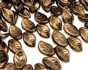 25 Leaf Beads - 14mm x 9mm Czech METALLIC DARK BRONZE Glass Leaves - Dark Brown Leaves - Fall Beads Autumn Beads Leaf Briolettes Glass Beads