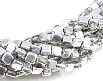 50 6mm x 6mm flat pillow beads metallic silver beads shiny silver coated czech