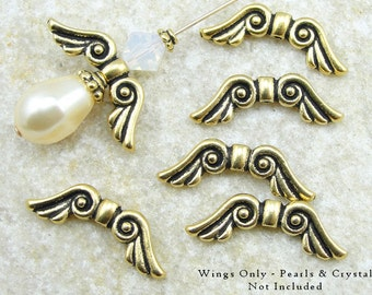 TierraCast Angel Wing Beads - Antique Gold Beads - Gold Angel Beads - Tierra Cast Beads