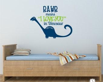Dinosaur RAWR Kids Wall Decals - Nursery Vinyl Wall Decals Stickers Art