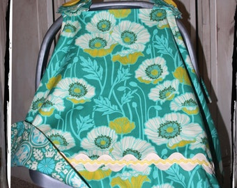 Car Seat Canopy-Teal Pristine Poppy Carseat Canopy- Ready to Ship