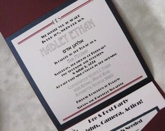 Movie / Oscar Theme Bar Mitzvah Pocket fold Invitation