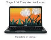 Original Art Dandelions on Orange Laptop Desktop Computer Wallpaper 1920x1080 Digital Download
