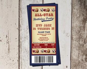 Baseball Ticket Birthday Invitation - All-Star Sports Birthday Party- JPG file - print yourself