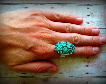 PEBBLES - Turquoise pebbles set in a silver or gold plated adjustable ring bezel  Boho style unisex turquoise ring Natural Glam Rock