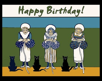 Three Old Ladies Happy Birthday Refrigerator Magnet - FREE US SHIPPING