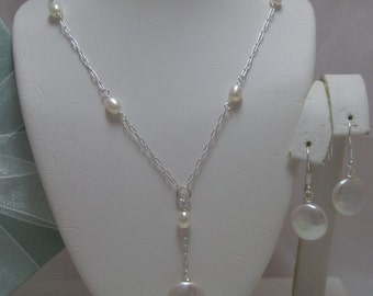 Genuine Coin Pearl Lariat necklace and earrings set (Pendant Drop) Bridal set