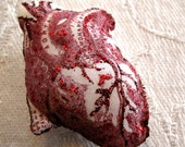 Art Brooch - Red Anatomical Glitter Heart - Silk and Glitter