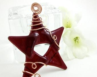 Red Fused Glass Star Suncatcher