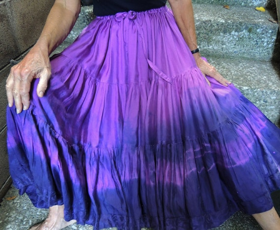 Sale: Gypsy Full Circle Purple Skirt, Handmade and Dyed, with Shibori