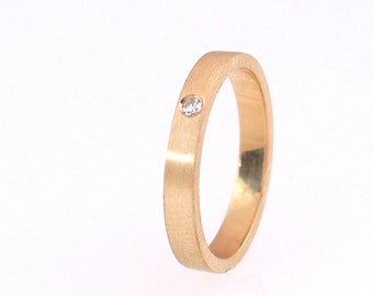 14k Yellow Gold Ring with Diamond, Size 7-13