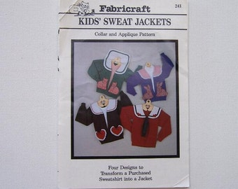 Applique, Girls Vintage Pattern, Applique For Purchased Sweatshirts Sizes X-Small - Large, Cute Animal Pockets For Purchased Sweatshirt